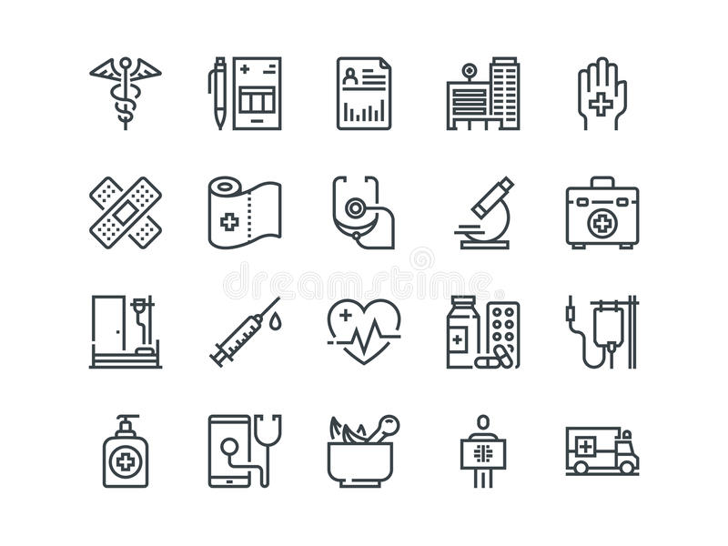 Medical. Set of outline vector icons. Includes such as Emergency, Heartbeat, Equipment and other. Medical and Healthcare. Set of outline vector icons. Includes vector illustration