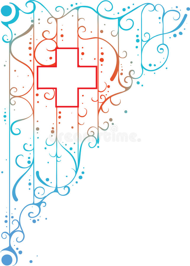 Medical sign. Pharmacy banner on white background with curly design and medical red cross in the middle (AI8 with gradient royalty free illustration