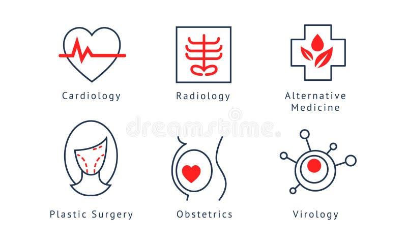 Medical specialization symbols set, cardiology, radiology, alternative medicine, plastic surgery, obstetrics, virology. Vector Illustration isolated on a white stock illustration