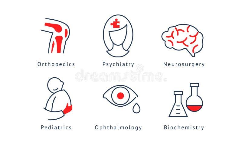Medical specialization symbols set, orthopedics, psychiatry, neurosurgery, biochemistry, pediatrics, ophthalmology stock illustration