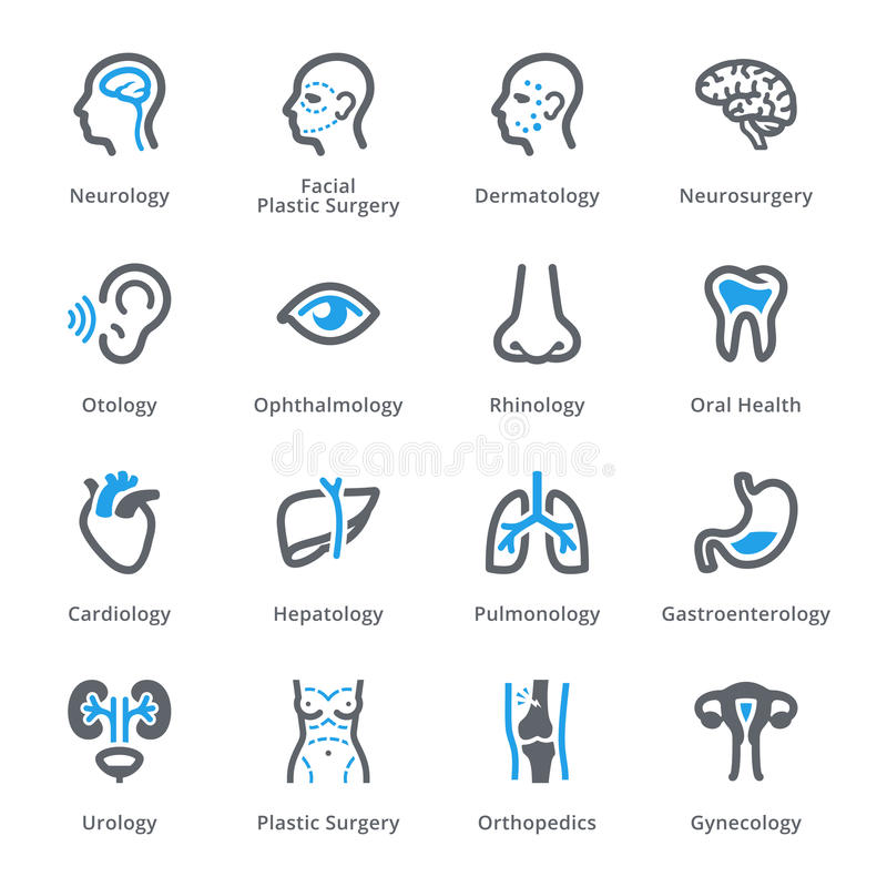 Medical Specialties Icons Set 1 - Sympa Series stock illustration