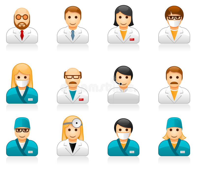 Medical staff avatars - user icons of doctors and nurses royalty free illustration