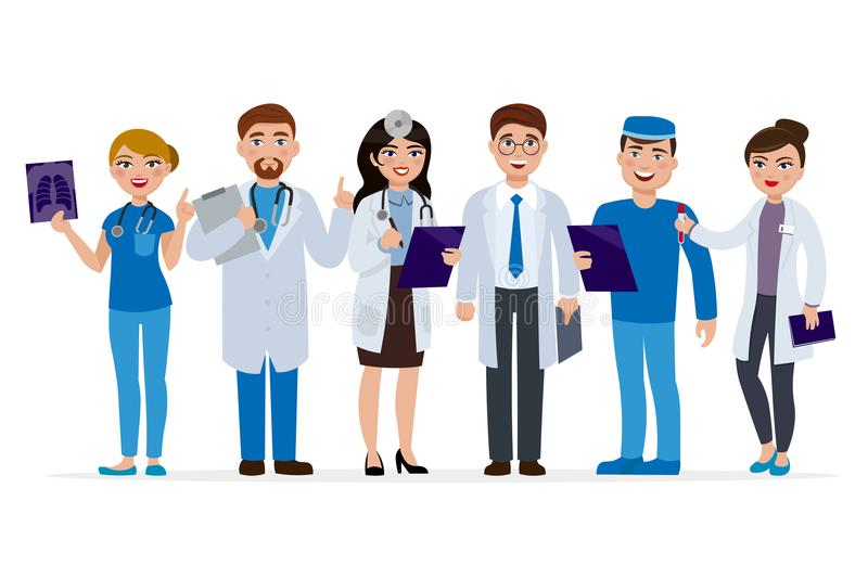 Medical staff cartoon characters vector flat illustration. Set of doctors isolated on white background. Medical team of. Cute people, group of hospital workers stock illustration