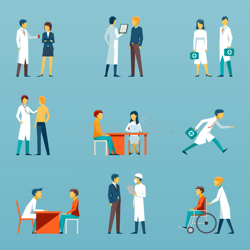 Medical staff flat vector icons. Health care set royalty free illustration