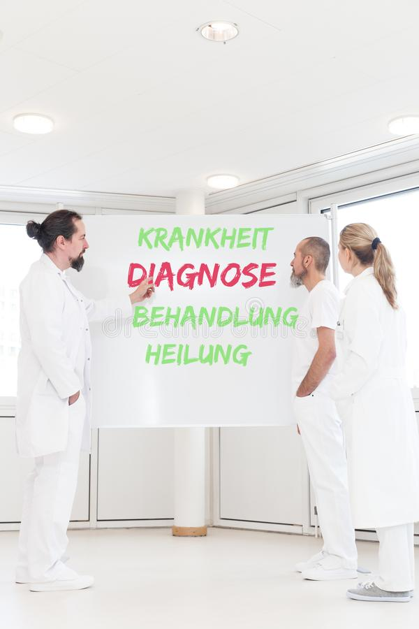 Medical staff in front of a whiteboard with german words. Medical staff in front of a whiteboard with the german words krankheit diagnose behandlung and heilung stock image