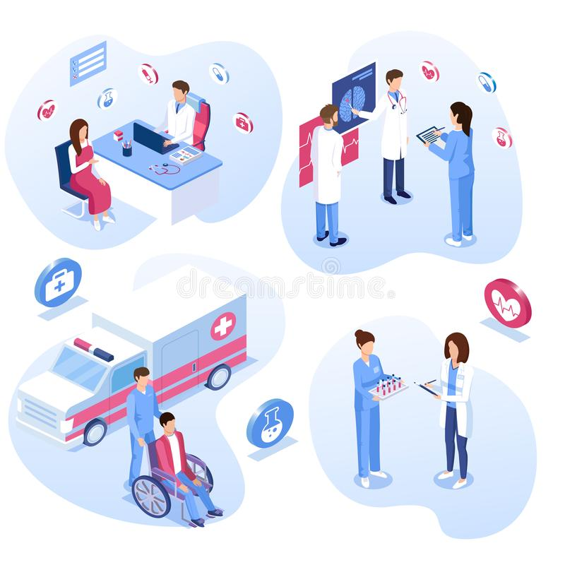 Medical staff set. Male and female doctors, nurses and patient concepts. Ambulance care, wheelchair, consultation and meeting. Vector illustration royalty free illustration