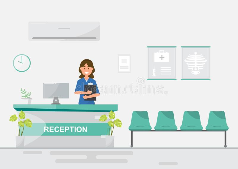 Medical staff women in reception hospital on flat style. Vector illustration cartoon character doctor clinic room medicine health office patient background royalty free illustration