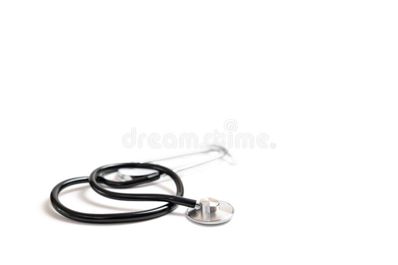 Medical Stethoscope on a white background, selective focus.  stock photography