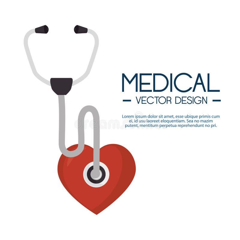 Medical stethoscope heart design label royalty free illustration