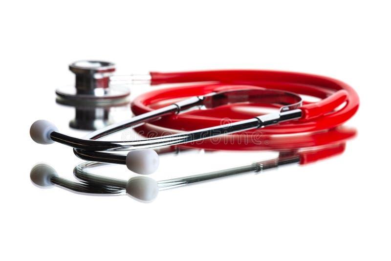 Medical  phonendoscope. Medical stethoscope or phonendoscope on white royalty free stock image