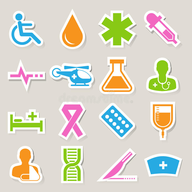 Download Medical Sticker Icons Set, . Illustration Stock Vector - Illustration of blood, cancer: 30467243