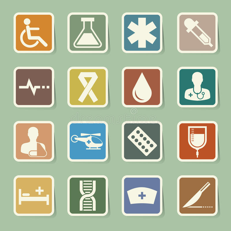Medical sticker icons set, . Illustration royalty free illustration