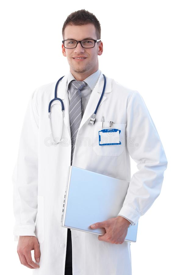 Medical Student With Laptop Smiling Stock Photos