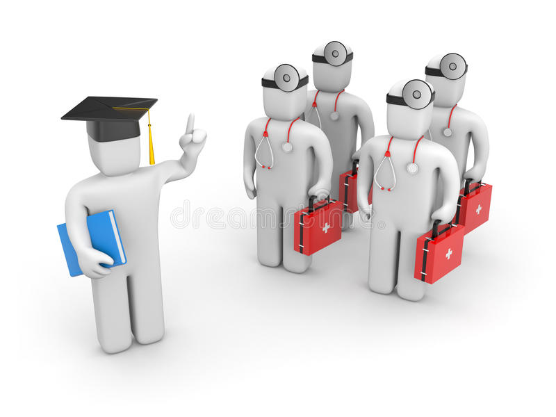 Medical student and lecturer or academic stock illustration