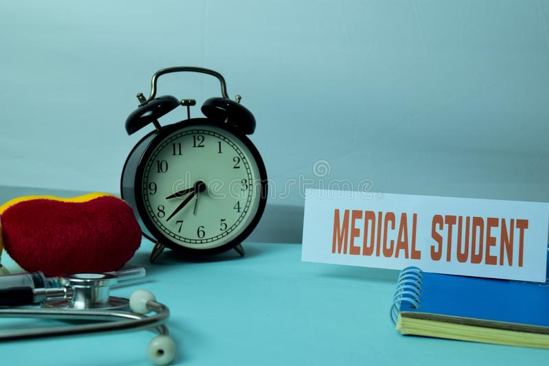 Medical Student Planning on Background of Working Table with Office Supplies. Medical and Healthcare Concept Planning on White Background royalty free stock image