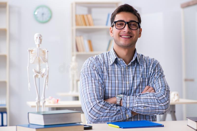 The medical student studying in classroom stock photos
