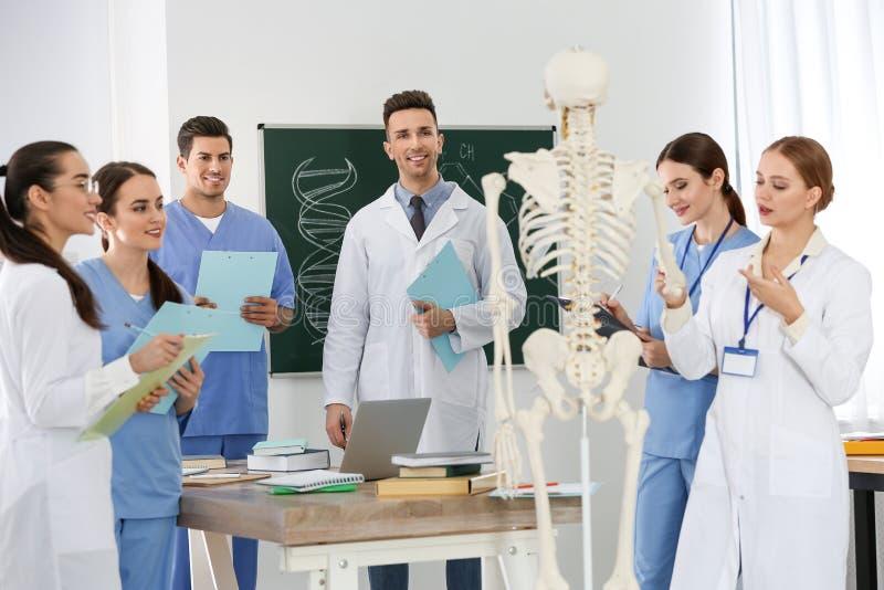 Medical students studying human skeleton anatomy stock photography