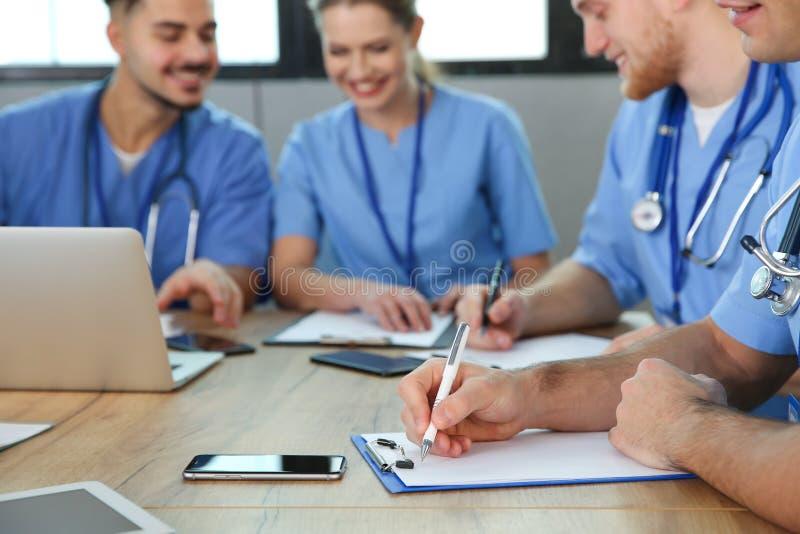 Medical students studying at university, closeup. View royalty free stock photo