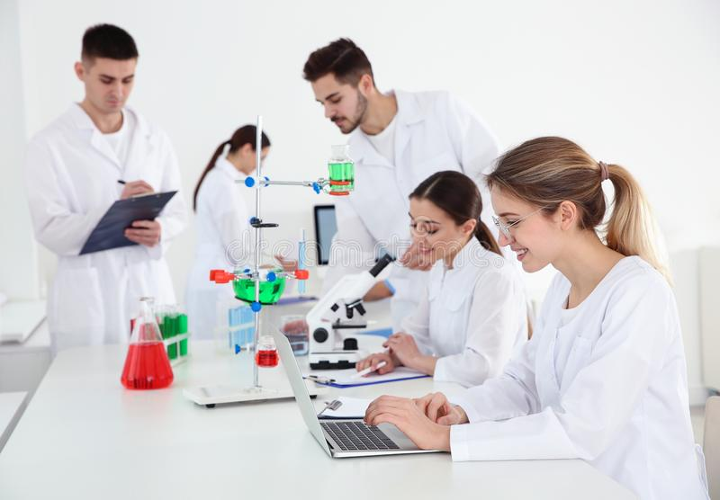 Medical students working in modern laboratory. Medical students working in modern scientific laboratory royalty free stock photo