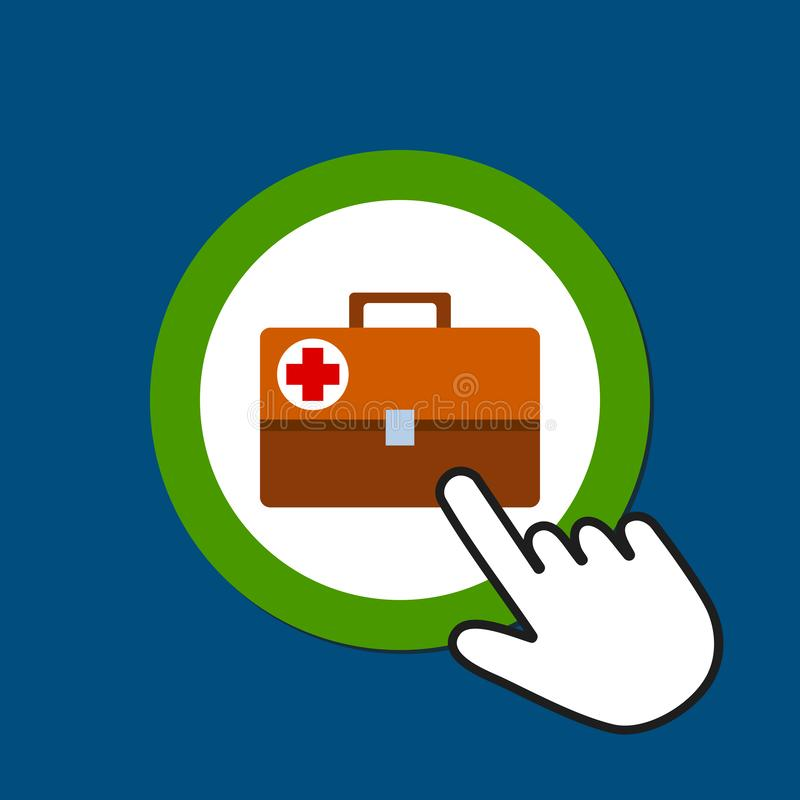 Medical suitcase icon. First aid concept. Hand Mouse Cursor Clicks the Button royalty free illustration