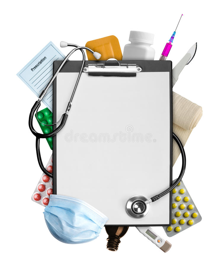 Medical supplies. Empty clipboard with medical supplies royalty free stock photography