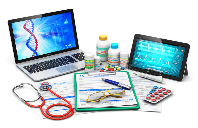 Medical supplies, prescription forms and computer diagnostics vector illustration
