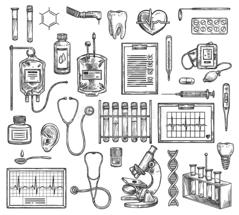 Medical surgery equipment. Vector sketch items. Medical surgery, hospital therapy medicine equipment. Vector sketch of cardiology, cardiogram, otolaryngology stock illustration