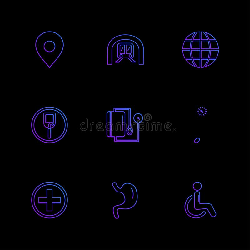 Medical , surgury , tools , hospital , heatlh , navigation , eps icons set vector. Medical , surgury , tools , hospital , heatlh , navigation , blood pressure stock illustration