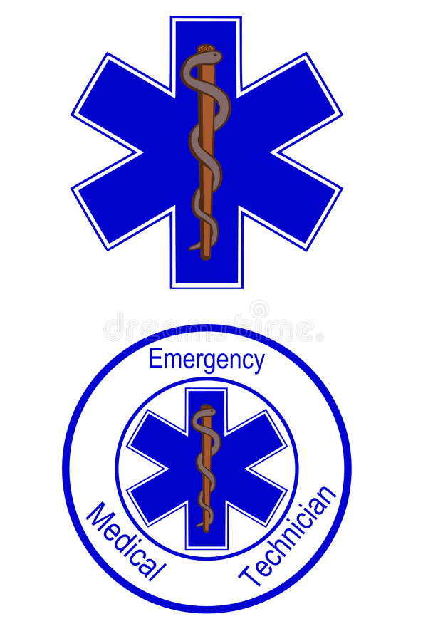 Medical symbol. Star of life emt symbols royalty free illustration