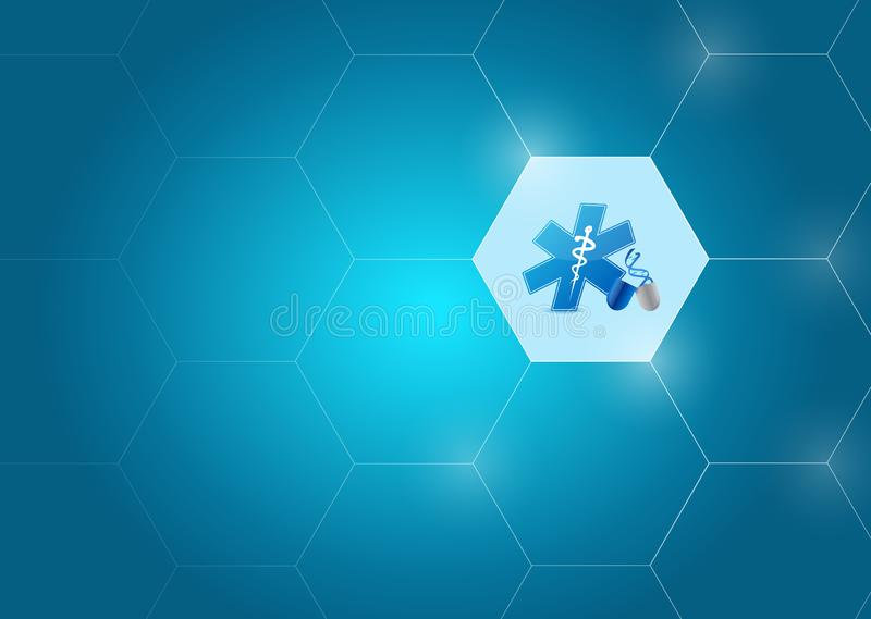 Medical symbol and adn diagram network of shapes. Over a blue background stock photography