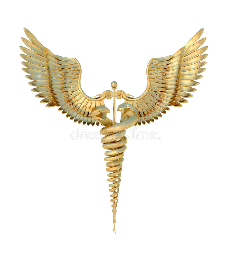 Medical symbol. A golden version of the antique symbol used to represent medical science. Isolated on white background. Transparent PNG available vector illustration