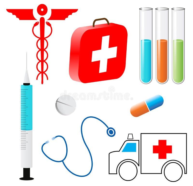 Medical symbols. Illustration of medical symbols on white background royalty free illustration