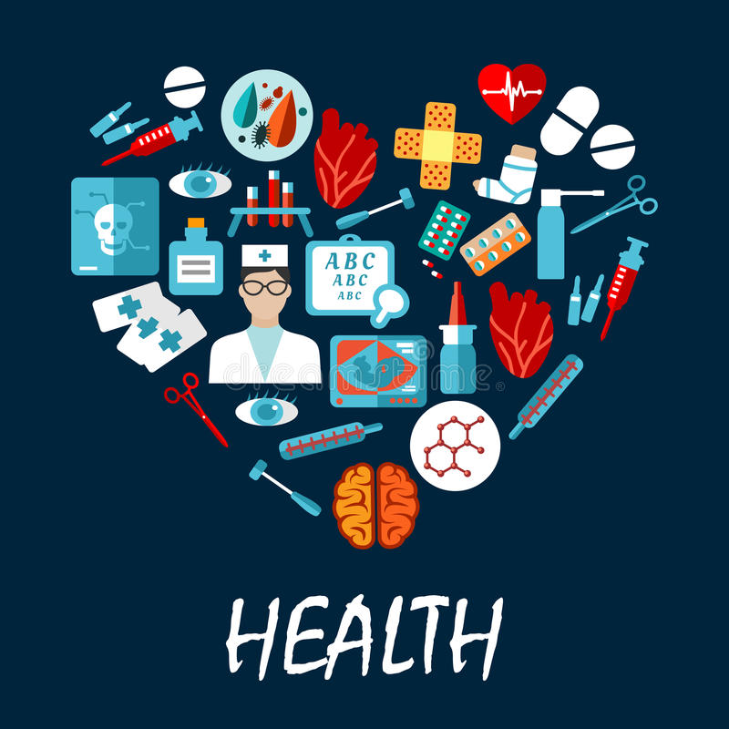 Medical symbols poster in heart shape vector illustration
