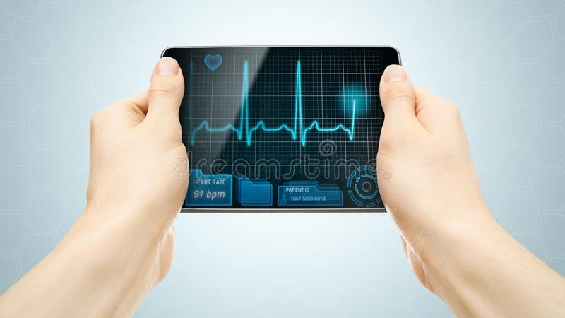 Medical tablet. PC showing cardiogram on display