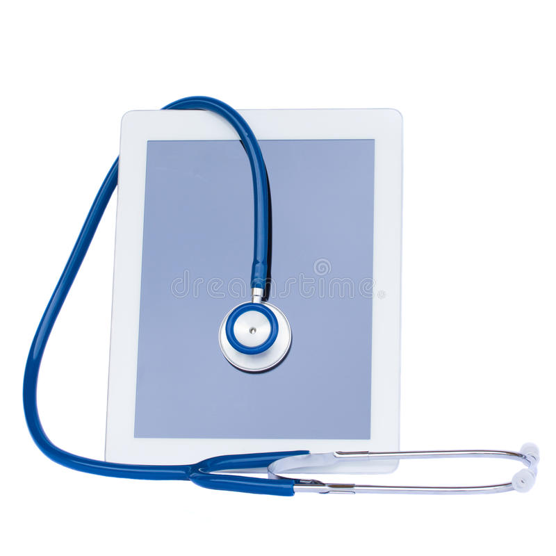 Medical tablet with stethoscope royalty free stock images