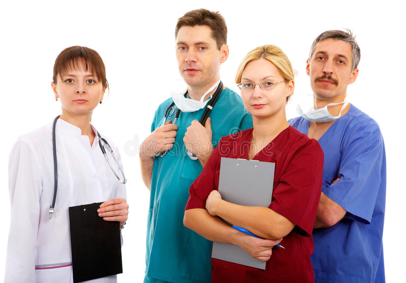 Medical team. Of two men and two women stock photo