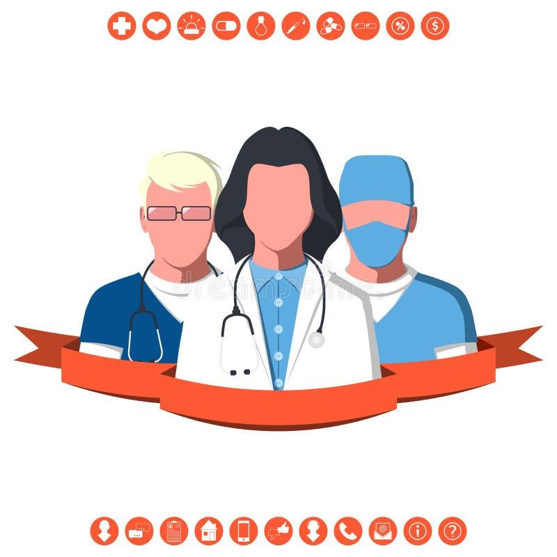 Medical team of ambulance royalty free illustration