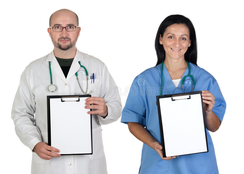 Medical Team With Clipboard In Blank Royalty Free Stock Image