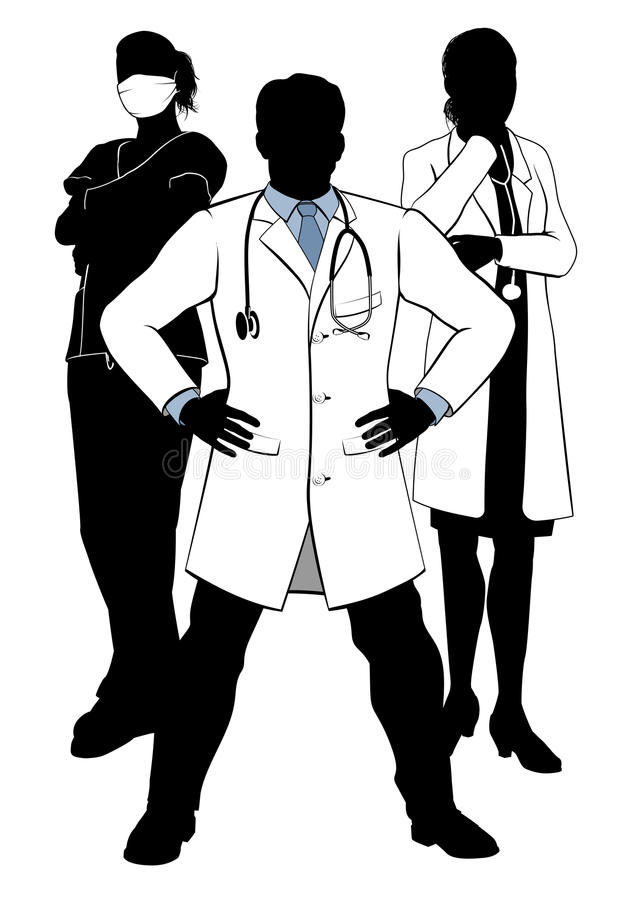 Medical Team Doctors and Nurses Group Silhouettes royalty free illustration