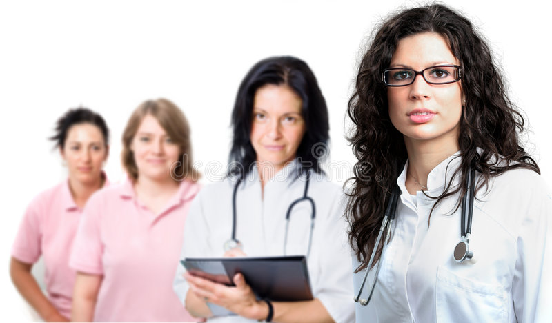Medical team of four people royalty free stock photo