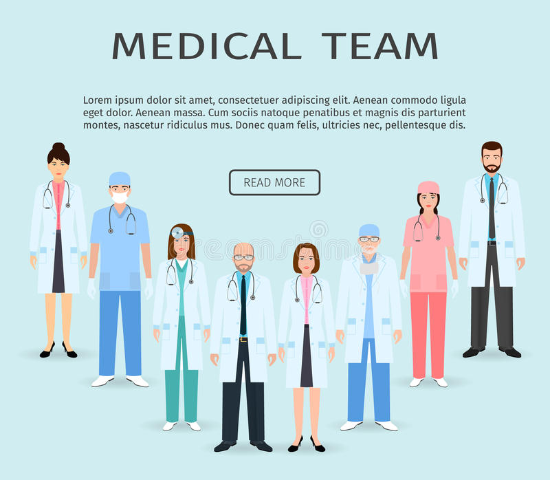 Medical Team. Group Of Flat Men And Women Doctors