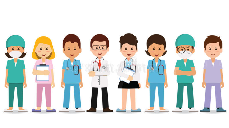 Medical team isolated on white. stock illustration