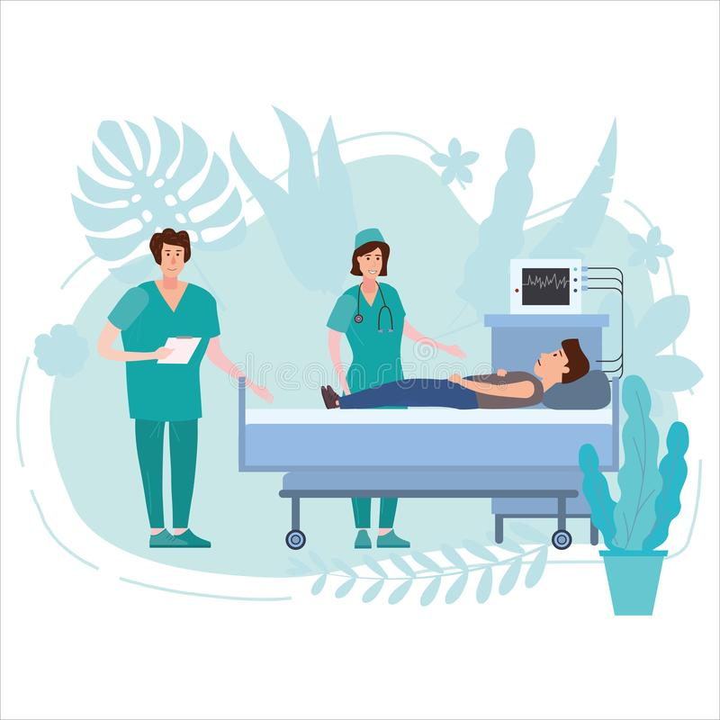 Medical team nurse and doctor consulting patient young men in a medical bed floral background. Hospitalization of the. Medical team nurse and doctor consulting royalty free illustration