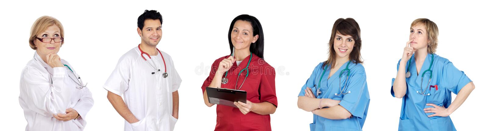 Medical team with pensive face. On a over white background stock image