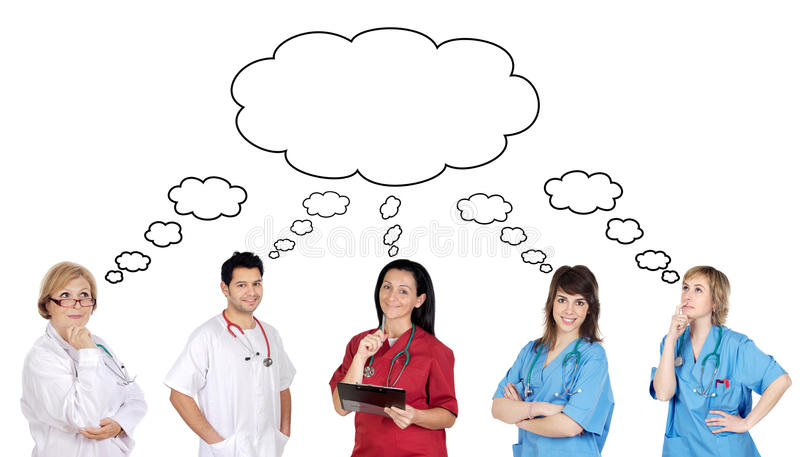 Medical team with pensive face. On a over white background stock photos