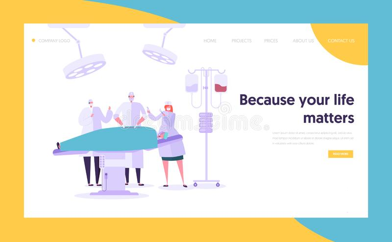 Medical Team Performing Surgery Operation Concept Landing Page. Doctor Assistant and Nurse Character Operate Patient. Medical. Clinic Website or Web Page. Flat royalty free illustration