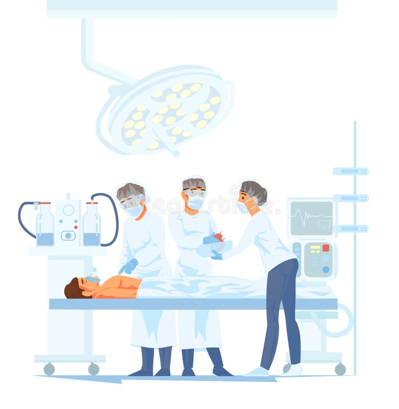 Medical Team Performing Surgical Operation in Modern Operating Room. Vector illustration of cartoon characters transplant human heart vector illustration