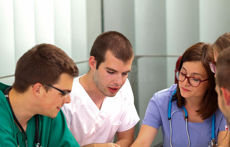 Medical team. Picture of a medical team meeting in the hospital royalty free stock image