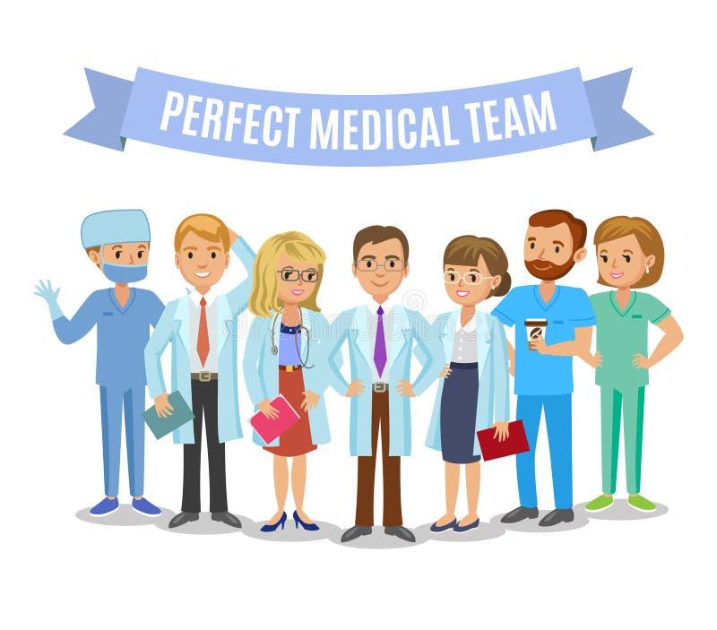 Medical team. Set of hospital medical staff. Doctors, nurses. And surgeon. Healthcare and medical concept. Vector Illustration stock illustration