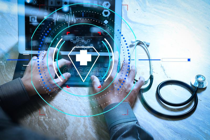 Medical technology concept. Doctor hand working with modern digital tablet dock screen computer with medical chart interface, Sun. Health care and medical stock images